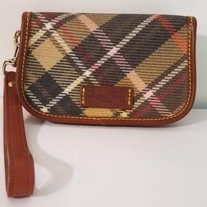 Dooney & Bourke Plaid Pouch Wristlet Purse Flap